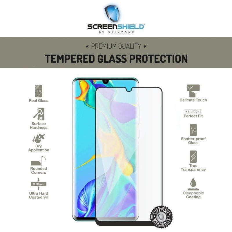 Ochranné temperované sklo Screenshield 3D Case Friendly pre Huawei P30 Pro, Full Cover Black - Doživotná záruka HUA-TG3DBCFP30PR-D
