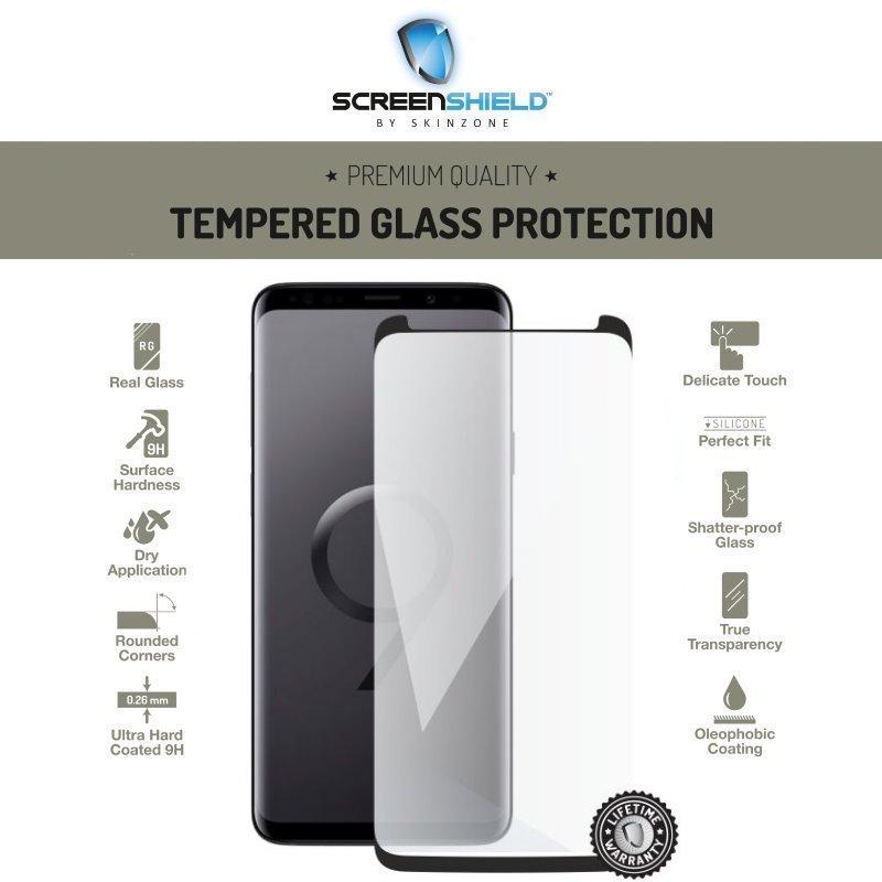 Ochranné temperované sklo Screenshield 3D Case Friendly pre Samsung Galaxy S9 Plus - G965F, Black - Doživotná záruka SAM-TG3DBCFG965-D