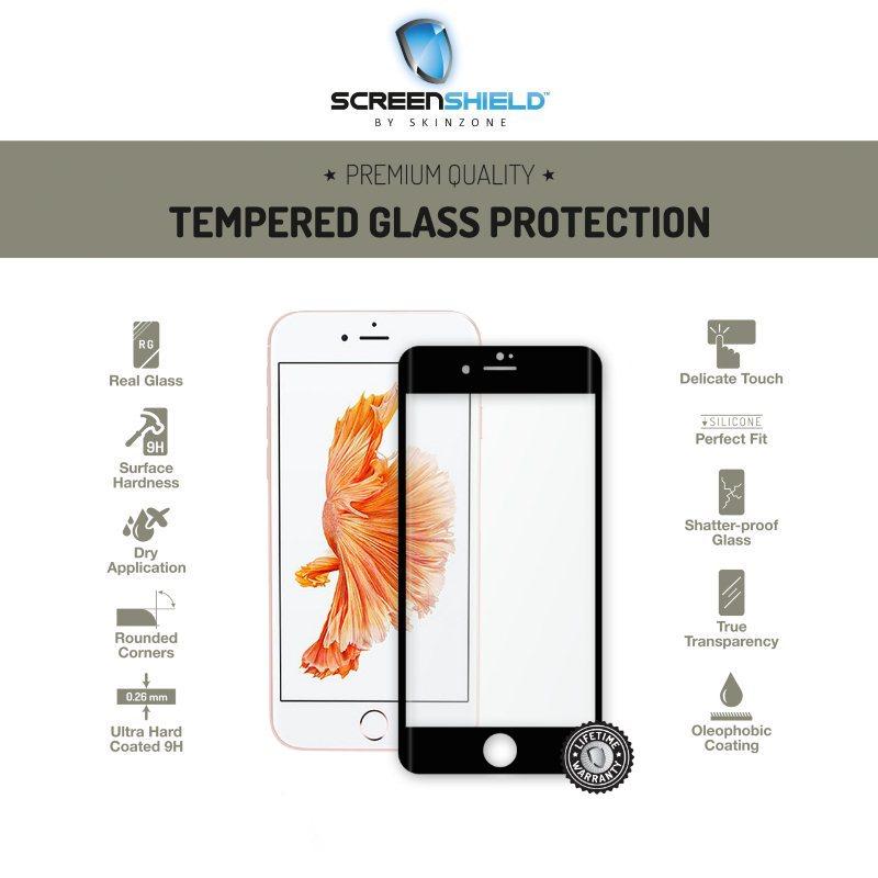 Ochranné temperované sklo ScreenShield 3D pre Apple iPhone 7 Plus - Full Cover Metalic Black - Doživotná záruka