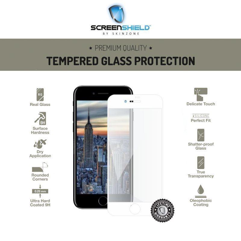 Ochranné temperované sklo Screenshield 3D pre Apple iPhone 8 Plus - Full Cover White - Doživotná záruka APP-TG3DWIPH8P-D
