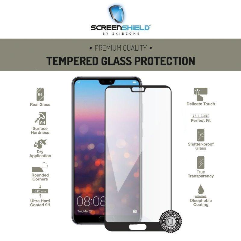 Ochranné temperované sklo Screenshield 3D pre Huawei P20 Pro - Full Cover Black - Doživotná záruka HUA-TG25DBP20PR-D