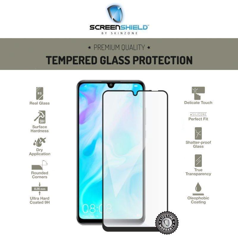 Ochranné temperované sklo Screenshield 3D pre Huawei P30 Lite, Full Cover Black - Doživotná záruka HUA-TG25DBP30LT-D