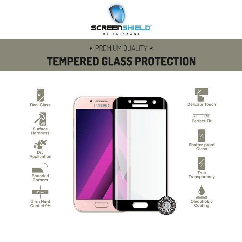 Ochranné temperované sklo Screenshield 3D pre Samsung Galaxy A3 2017 - A320F, Black - Doživotná záruka