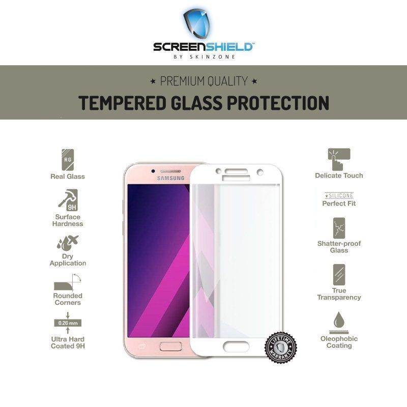 Ochranné temperované sklo Screenshield 3D pre Samsung Galaxy A3 2017 - A320F, White - Doživotná záruka