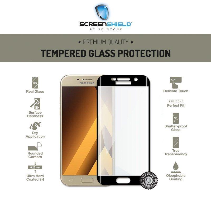 Ochranné temperované sklo Screenshield 3D pre Samsung Galaxy A5 2017 - A520F, Black - Doživotná záruka
