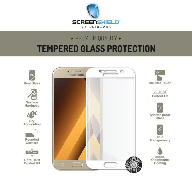 Ochranné temperované sklo Screenshield 3D pre Samsung Galaxy A5 2017 - A520F, White - Doživotná záruka