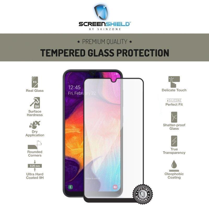Ochranné temperované sklo Screenshield 3D pre Samsung Galaxy A50 - A505F, Full Cover Black - Doživotná záruka SAM-TG25DBA505-D