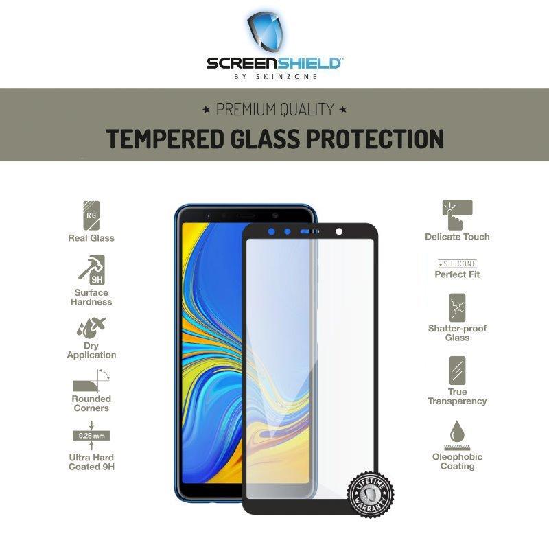 Ochranné temperované sklo Screenshield 3D pre Samsung Galaxy A7 2018 - A750F - Full Cover Black - Doživotná záruka