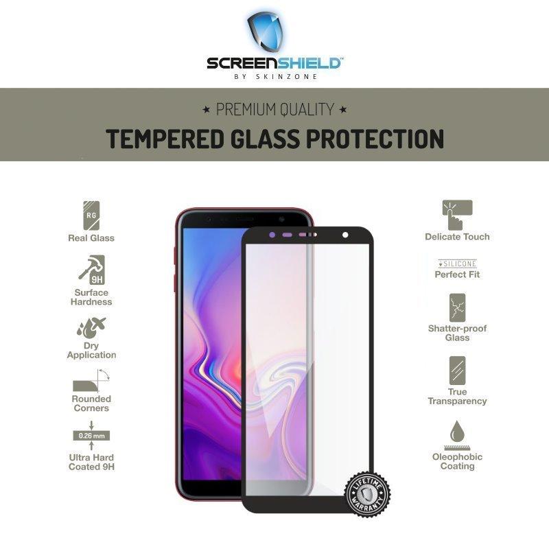 Ochranné temperované sklo Screenshield 3D pre Samsung Galaxy J6 Plus - J610F - Full Cover Black - Doživotná záruka