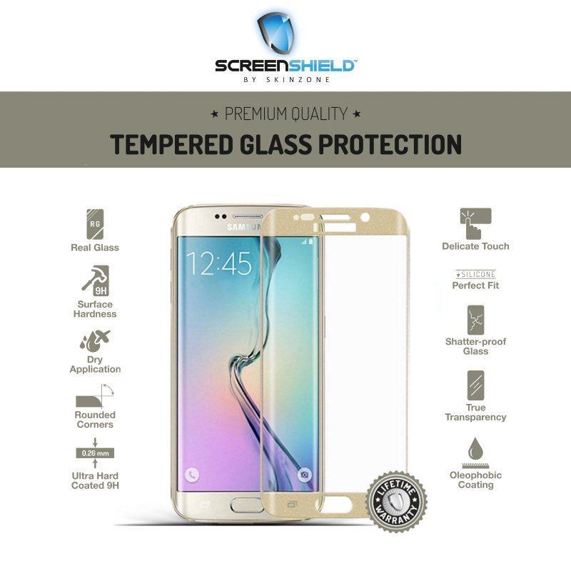 Ochranné temperované sklo Screenshield 3D pre Samsung Galaxy S6 Edge - G925F, Gold - Doživotná záruka SAM-TGGG925-D