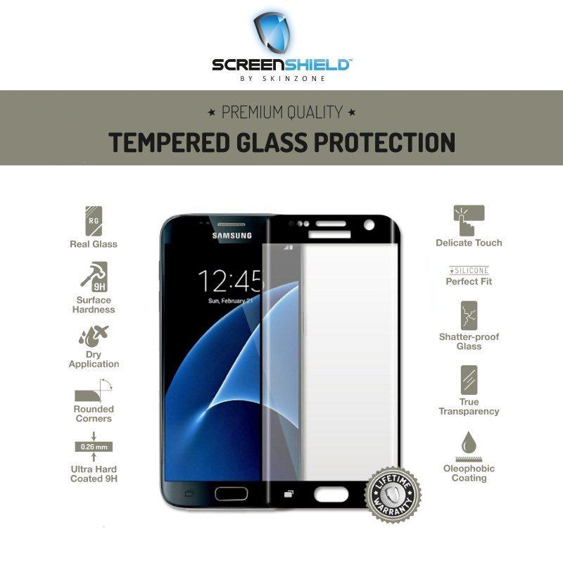 Ochranné temperované sklo Screenshield 3D pre Samsung Galaxy S7 - G930F, Black - Doživotná záruka
