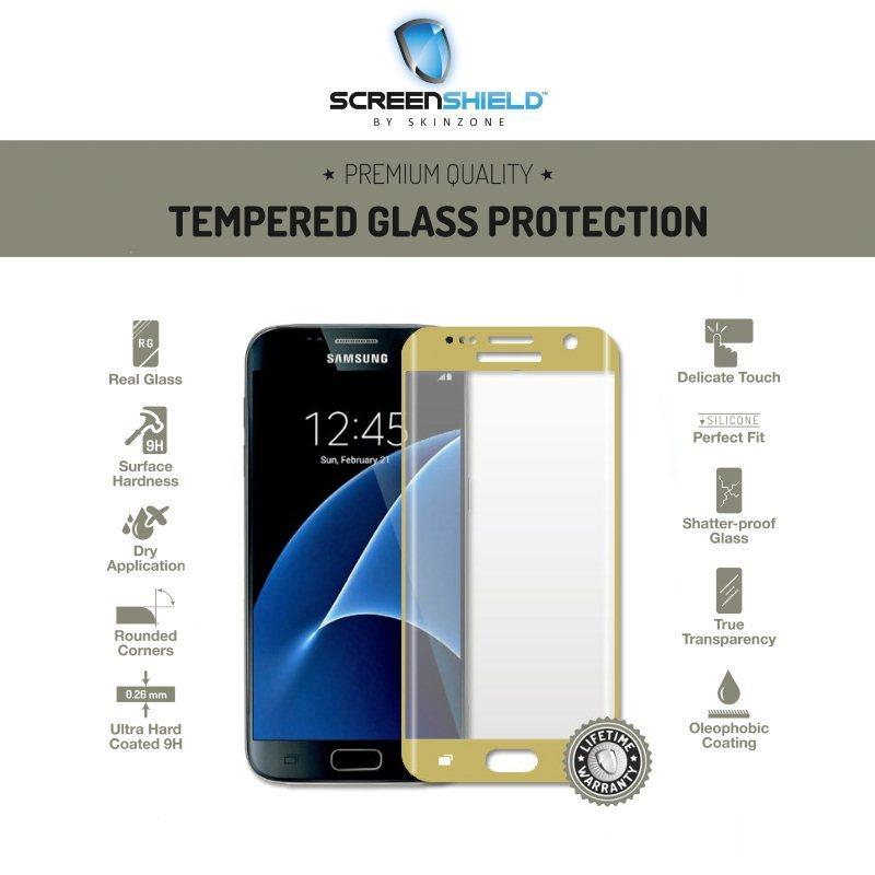 Ochranné temperované sklo Screenshield 3D pre Samsung Galaxy S7 - G930F, Gold - Doživotná záruka