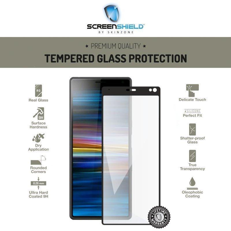Ochranné temperované sklo Screenshield 3D pre Sony Xperia 10, Full Cover Black - Doživotná záruka SON-TG3DBXP10I4113-D