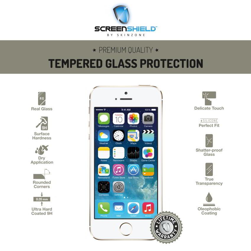 Ochranné temperované sklo ScreenShield pre Apple iPhone 5, 5S, SE - Doživotná záruka