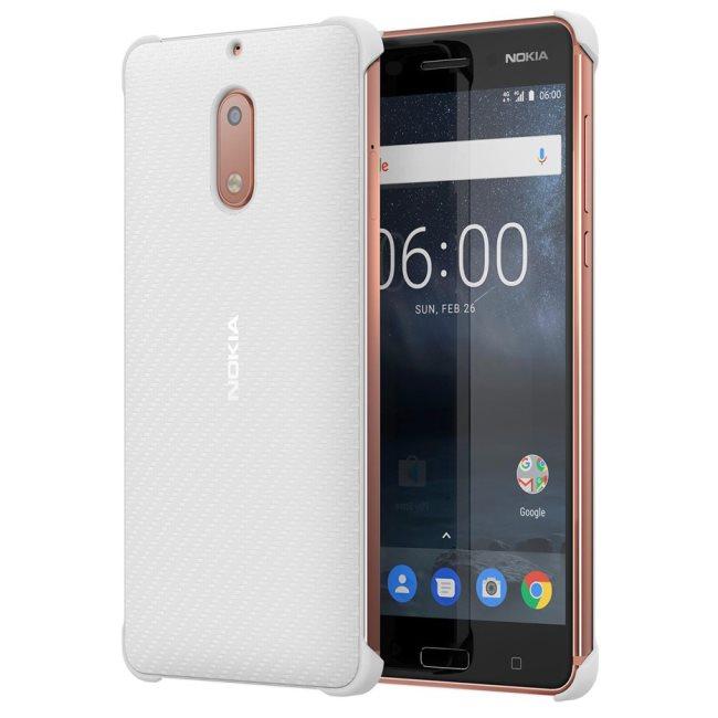 Originálne puzdro Nokia Carbon Fibre CC-802 pre Nokia 6, Pearl White 1A21M9700VA