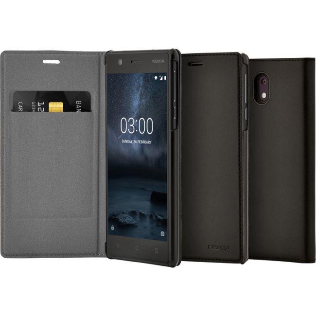 Originálne puzdro Nokia Slim Flip CP-303 pre Nokia 3, Black 1A21M1Q00VA