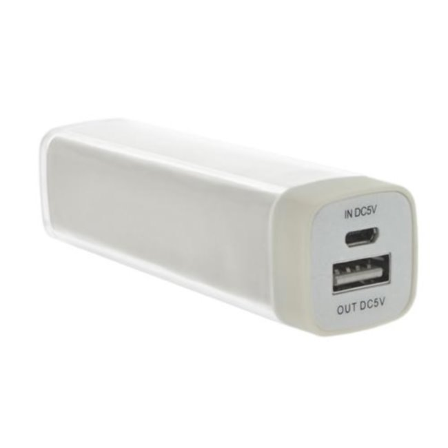 POWER BANK LIPSTICK WHITE 2200 mAh WIHT USB CABLE
