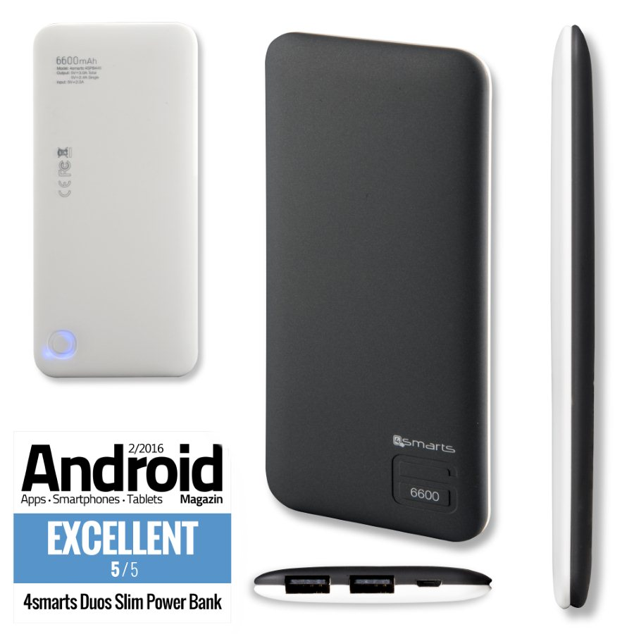 PowerBank 4Smarts Duos Slim 6600 mAh, BlackWhite