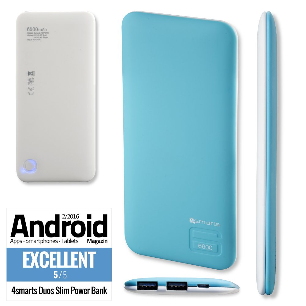 PowerBank 4Smarts Duos Slim 6600 mAh, BlueWhite