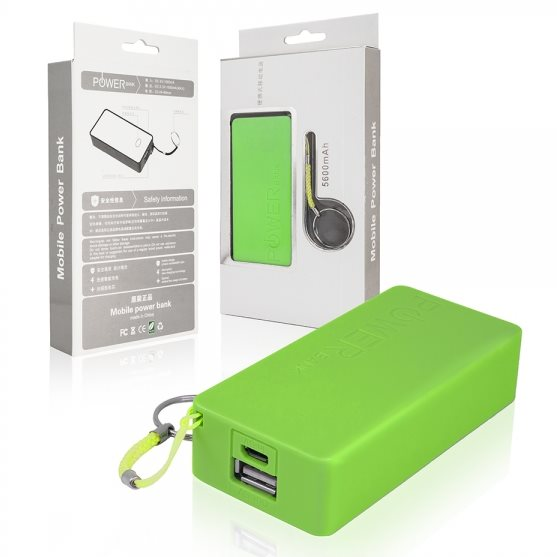PowerBank 6000 mAh - 1x USB + 1x Micro USB, Green