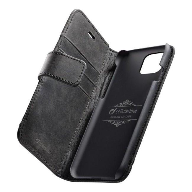 Prémiové kožené puzdro CellularLine Supreme pre Apple iPhone 11 Pro Max, čierne SUPREMECIPHXIMAXK