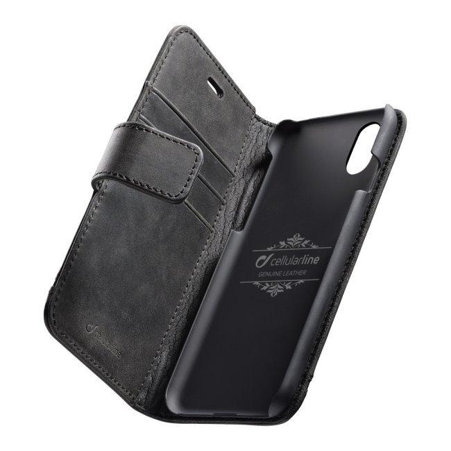 Prémiové kožené puzdro CellularLine Supreme pre Apple iPhone XR, čierne