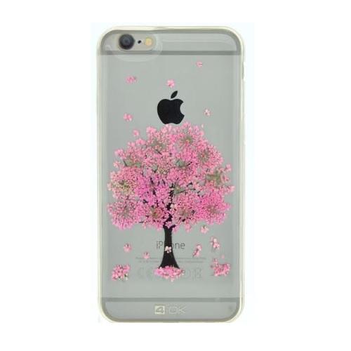 Puzdro 4-OK kvetinové pre Apple Iphone 6/6S, Motív-Pink Tree