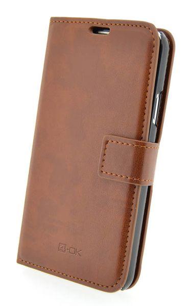 Puzdro 4-OK Wallet Stand With Card Pocket Pre Galaxy S4, Hnedá