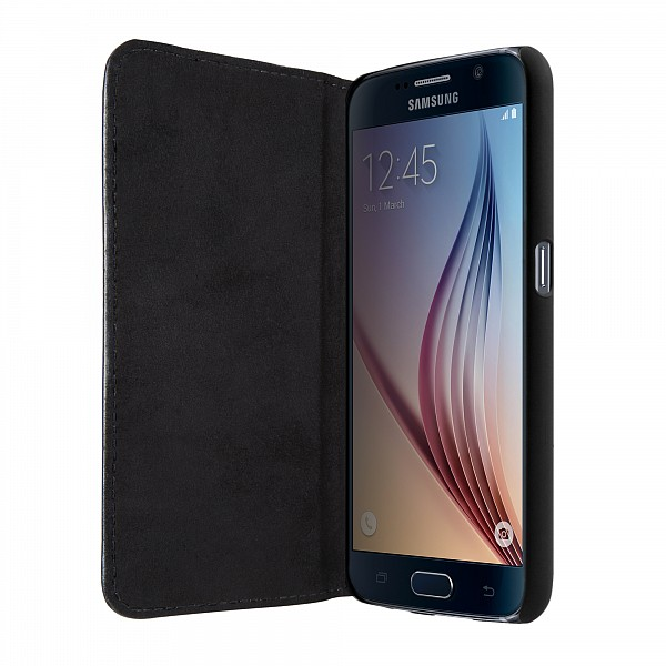 Puzdro Bugatti BookCover Oslo Leather pre Samsung Galaxy S6, black