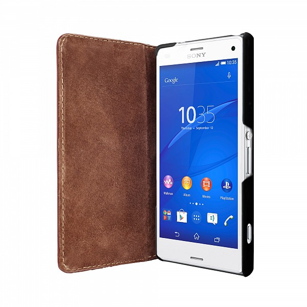 Puzdro Bugatti BookCover Oslo Leather pre Sony Xperia Z3, brown