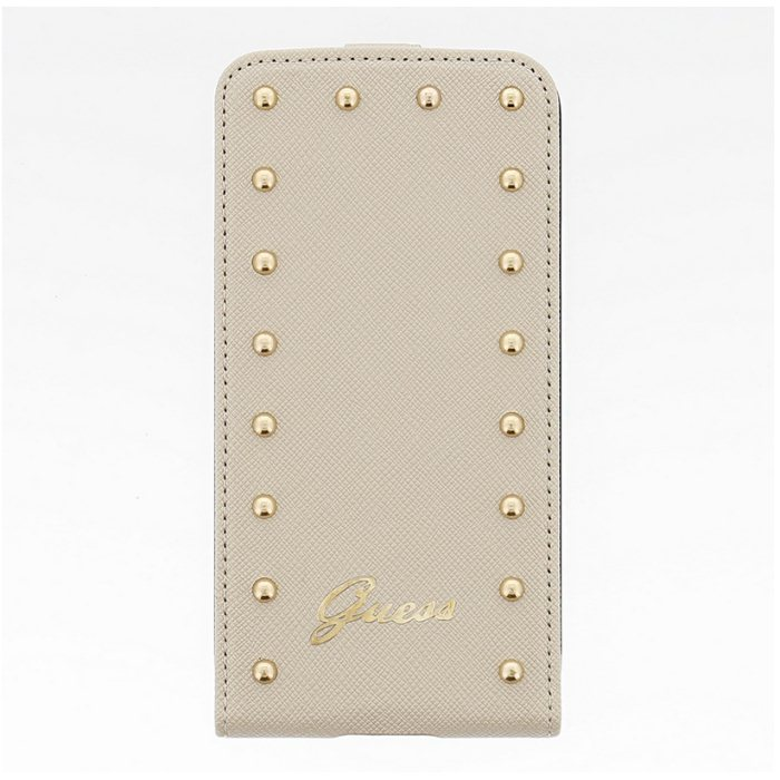 Puzdro Guess Studded Flip pre Samsung Galaxy S5 - G900 a S5 Neo - G903, Cream