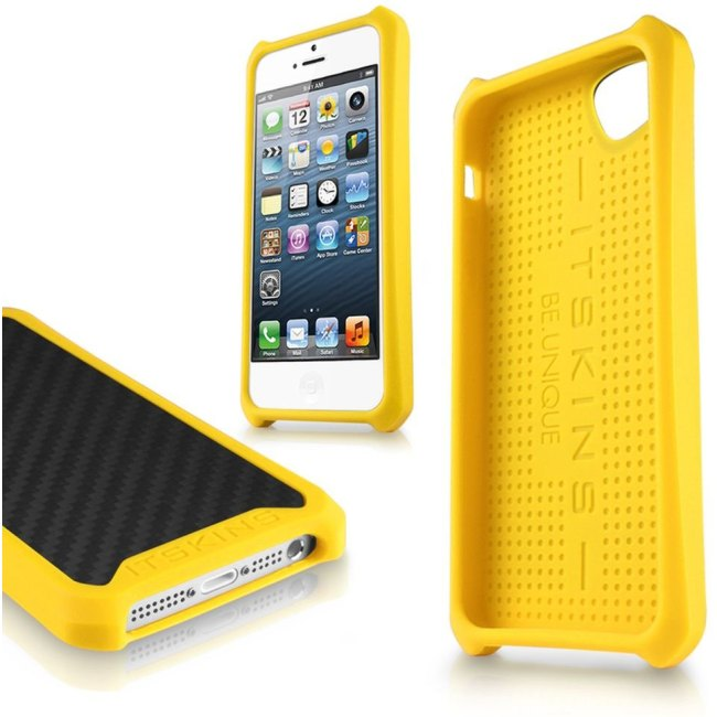 Puzdro ITSKINS Atom Matt pre Apple iPhone 5, 5S a SE, Carbon Yellow