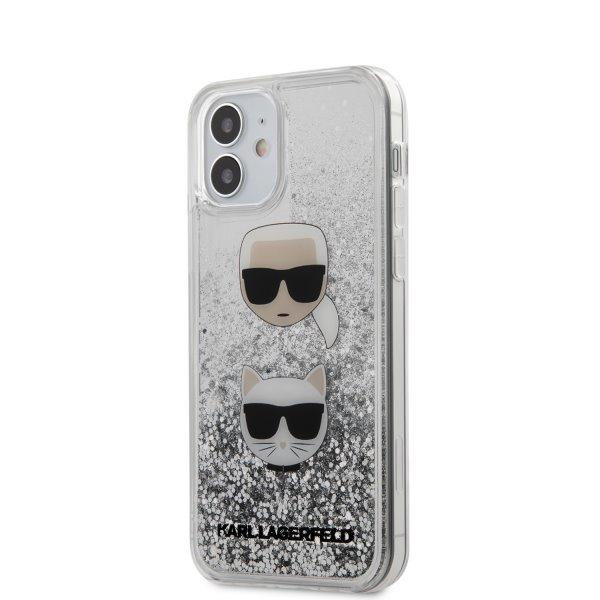 Púzdro Karl Lagerfeld Liquid Glitter 2 Heads pre iPhone 12 mini, silver KLHCP12SKCGLSL