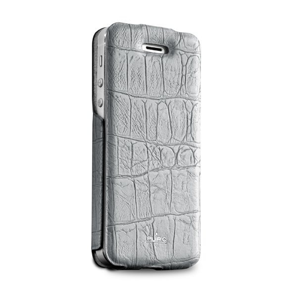Puzdro kni�kov� Puro Wallet Case pre Apple iPhone 5, 5S a SE, Grey Crocodile