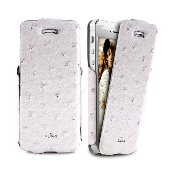 Puzdro kni�kov� Puro Wallet Case pre Apple iPhone 5, 5S a SE, White