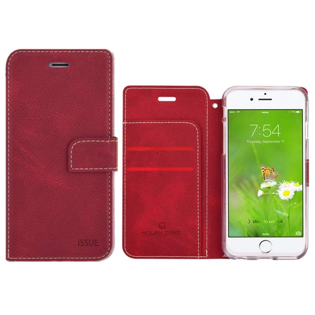 Puzdro Molan Cano Issue Book pre Apple iPhone 7 a 8, Red