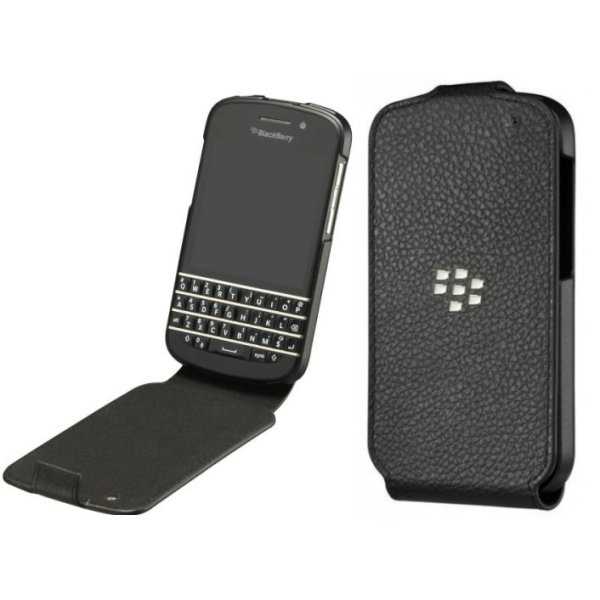 Puzdro origin�lne ko�en� Flip Shell pre BlackBerry Q10 - Qwerty a Q10 - Qwertz, Black
