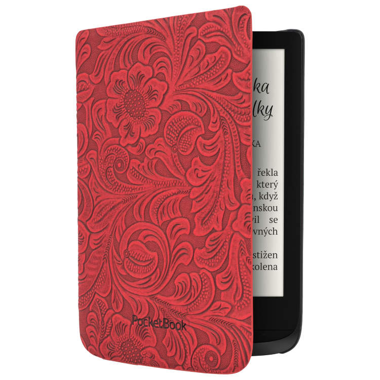 Puzdro originálne - kvetinový vzor pre Pocketbook 616, 627, 628, 632 a 633, Red