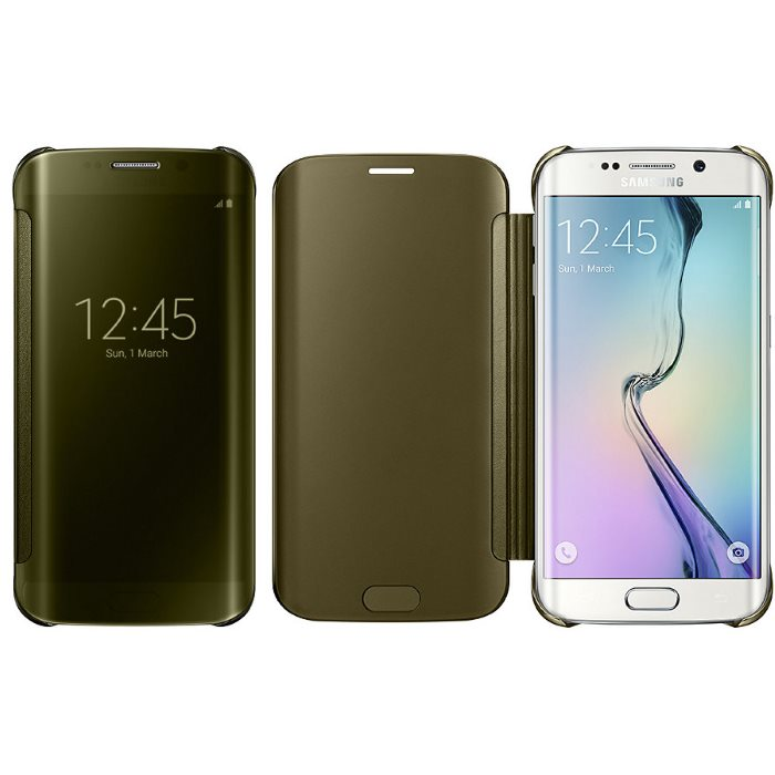 Puzdro Samsung Clear View Cover EF-ZG925B pre Samsung Galaxy S6 Edge - G925F, Gold