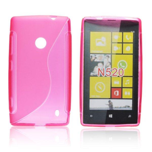 Puzdro silikonové S-TYPE pre Nokia Lumia 520 a Nokia Lumia 525, Pink