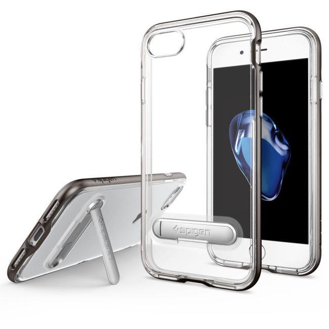 Puzdro Spigen Crystal Hybrid pre Apple iPhone 7 a iPhone 8, Gunmetal