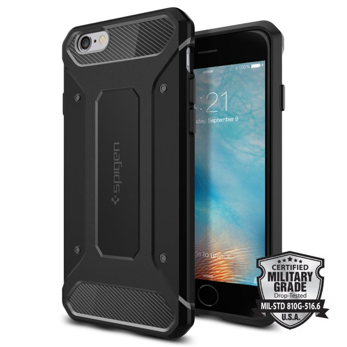 Puzdro Spigen Rugged Armor pre Apple iPhone 6 a 6S, Black