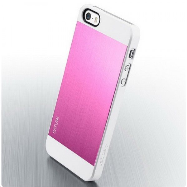 Puzdro Spigen Saturn pre Apple iPhone 5, 5S a SE, Metal pink