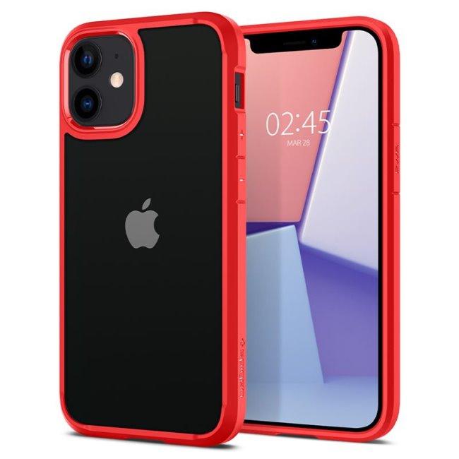 Puzdro Spigen Ultra Hybrid pre Apple iPhone 12 Mini, červené ACS01747
