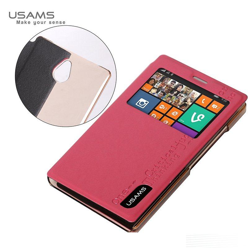 Puzdro USAMS MERRY S-VIEW pre Nokia X2, Pink 6958444910703
