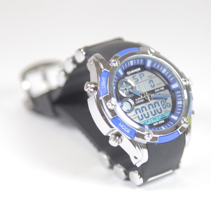 Quamer Elegance Watch, Black/Blue