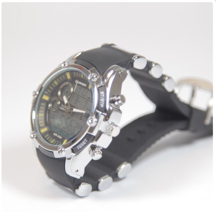 Quamer Elegance Watch, Black/Silver