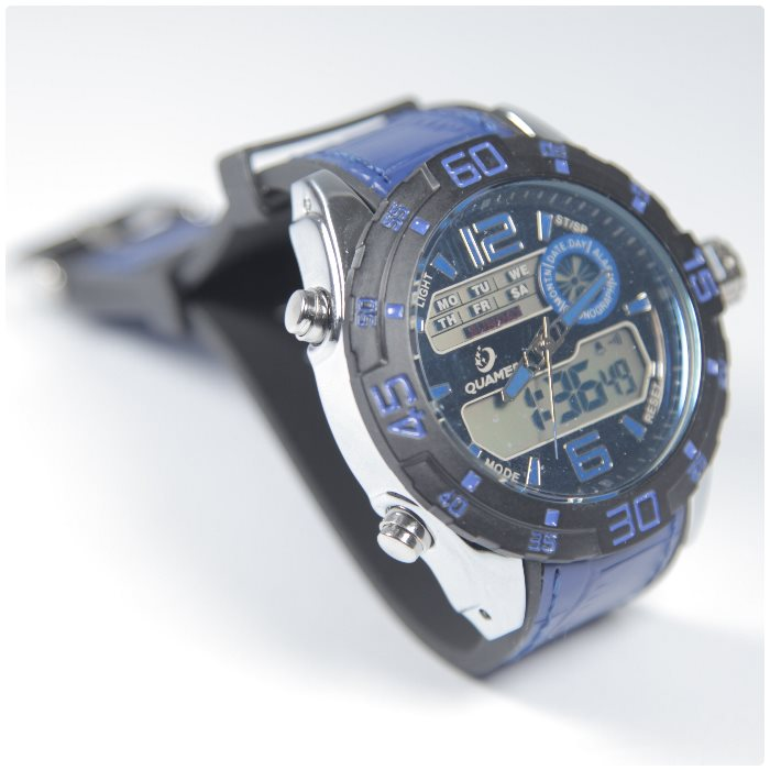 Quamer Outdoor Watch, Black/Blue + modrý kožený remienok