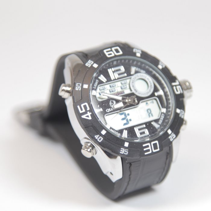 Quamer Outdoor Watch, Black + čierno/biely remienok