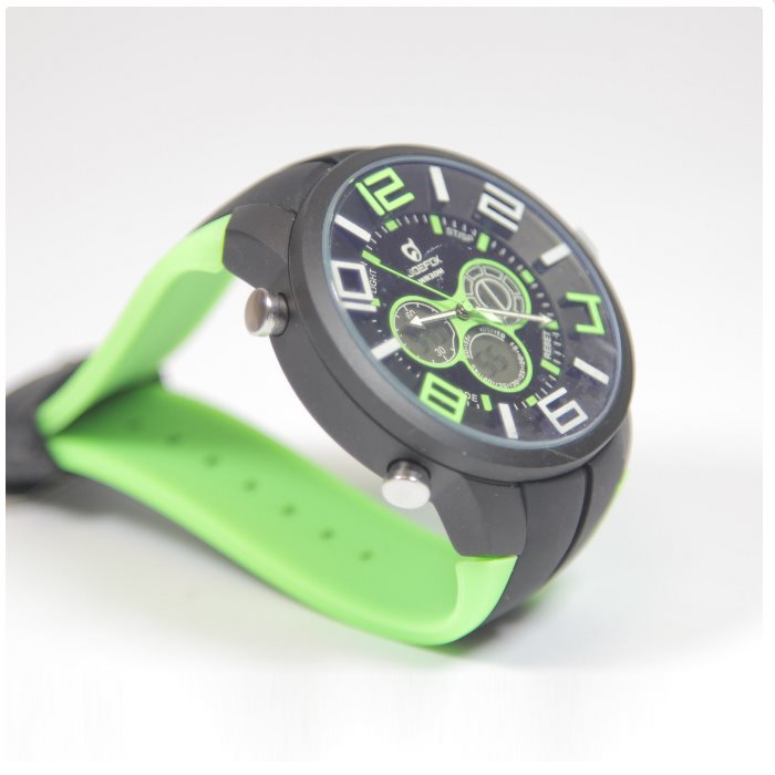 Quamer Sport Watch, Black/Green